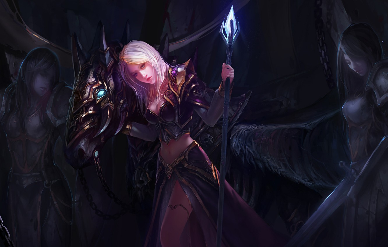 Photo wallpaper crystal, girl, darkness, armor, staff, WoW, World of Warcraft, Jaina Proudmoore, art by Chenbo