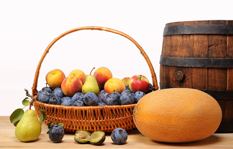 Photo wallpaper basket, apples, fruit, peaches, plum, pear, melon, barrel