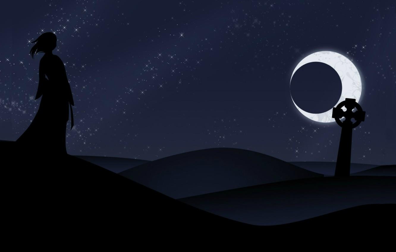 Wallpaper Night Loneliness Black Desert Silhouette Eclipse Headstone Black Moon Images For Desktop Section Fantastika Download