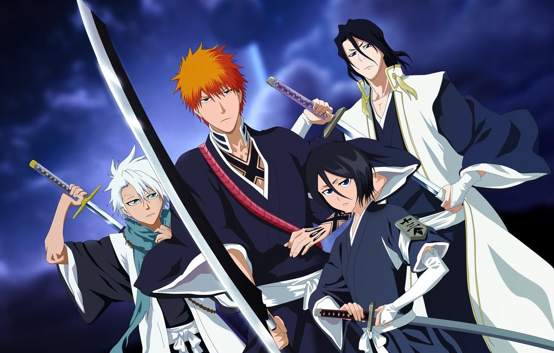 Photo wallpaper insignia, girl, sword, game, emblem, Bleach, anime, katana, man, boy, captain, hero, asian, Kurosaki Ichigo, …