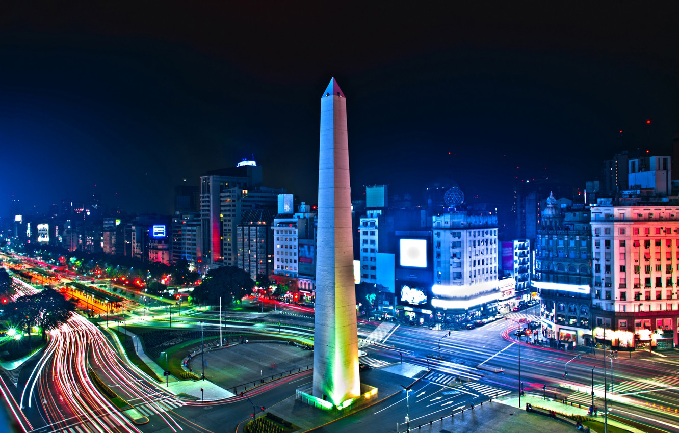Photo wallpaper night, lights, road, tower, home, Argentina, street, Argentina, Buenos Aires, Buenos Aires