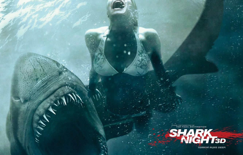 Photo wallpaper water, girl, shark, horror, jaws in 3d