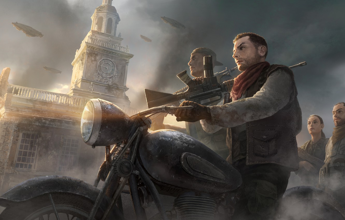 Photo wallpaper the building, motorcycle, guys, Homefront The Revolution, vitovka