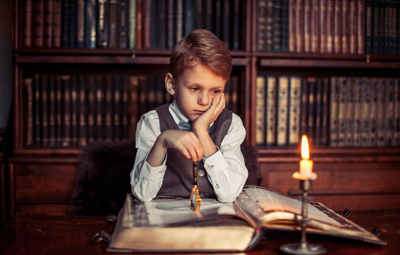 Photo wallpaper boy, book, library, Philosophical mood