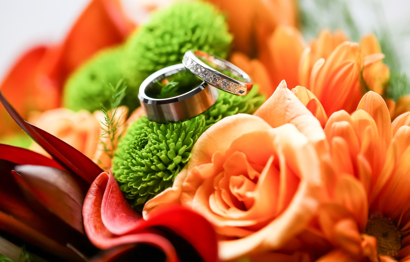 Photo wallpaper flowers, bouquet, ring, two