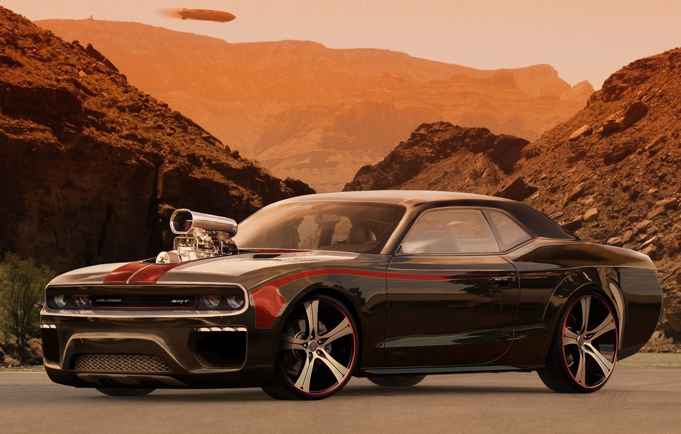 Photo wallpaper auto, mountains, desert, tuning, Moto, power, supercharger, dodge, tuning