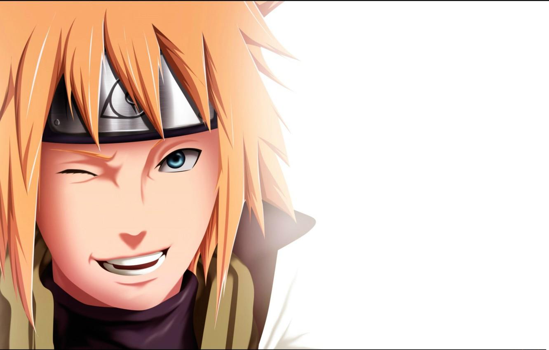 Photo wallpaper smile, white background, wink, dad, ninja, the fourth Hokage, Naruto Shippuden, Konoha, Minato Namikaze, bandage …