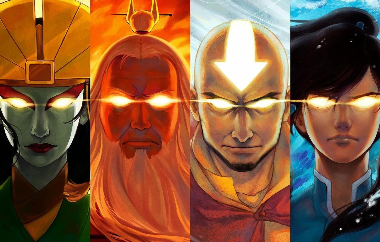 Photo wallpaper eyes, water, fire, earth, the air, Avatar, Avatar, Korra, Times, Aang, The Legend of Korra, …