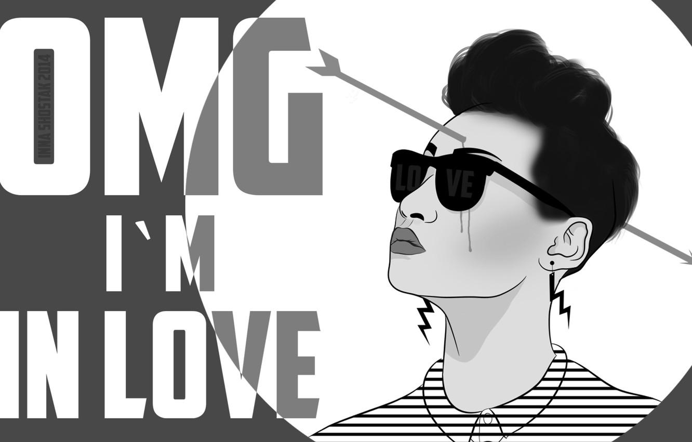 Photo wallpaper girl, love, Cupid, glasses, arrow, love, shock