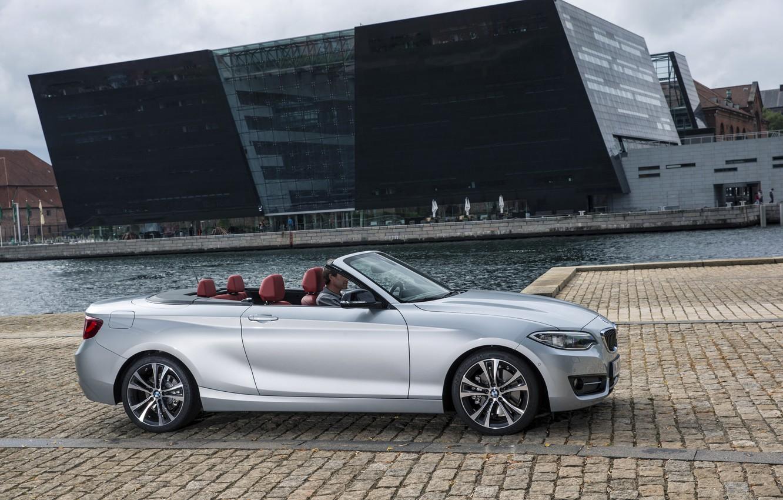 Photo wallpaper photo, BMW, Convertible, Car, convertible, Side, 2015, Silver, F23, 228i