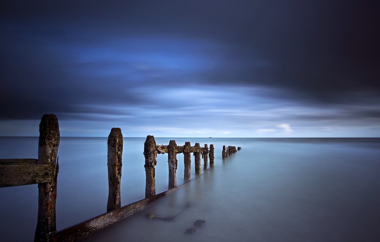 Photo wallpaper the storm, the sky, clouds, blue, shore, Sea, support