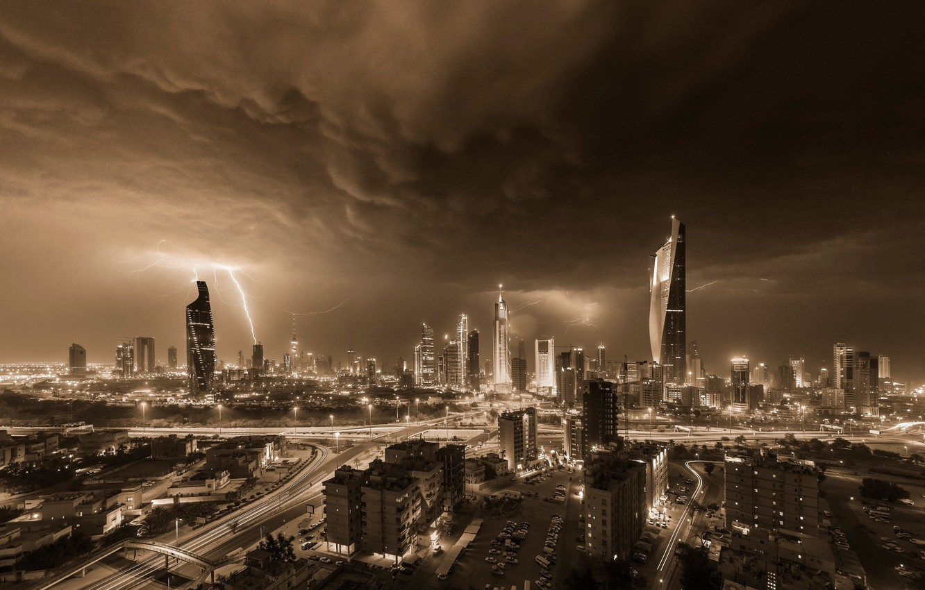 Photo wallpaper the storm, the sky, night, storm, zipper, home, storm, the evening, skyscrapers, Kuwait, they
