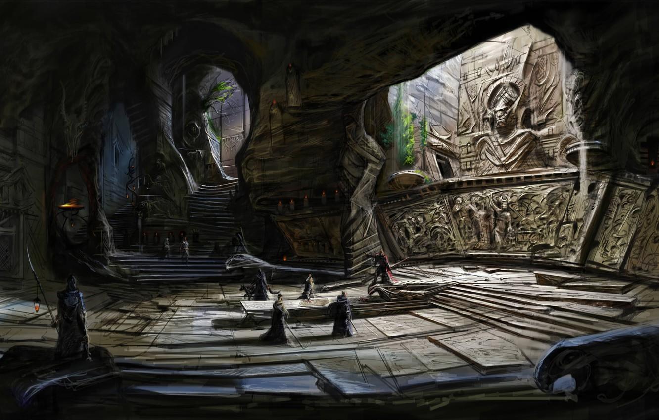 Photo wallpaper people, stage, temple, cave, Skyrim, concept art, The Elder Scrolls V