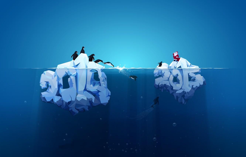 Photo wallpaper new year, penguins, iceberg, 2014, 2015, red Santa