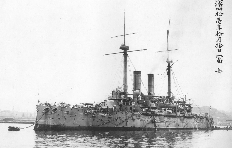 Photo wallpaper Fuji at anchor, Fuji, in 1908, Japanese battleship