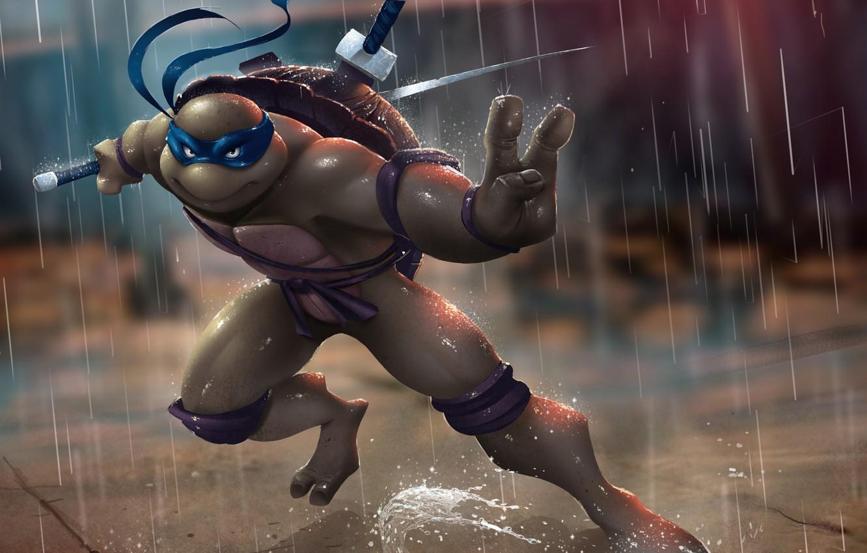 Photo wallpaper rain, turtle, sword, ninja, tmnt, mutant, Leonardo, Teenage Mutant Ninja Turtles, leo