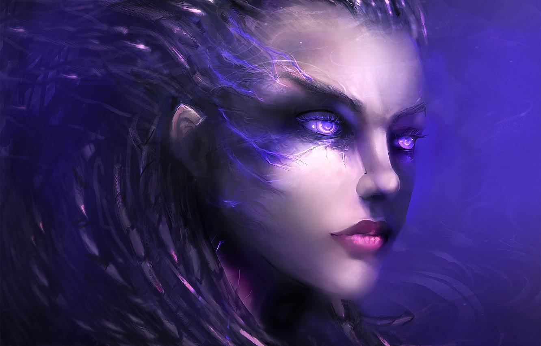 Photo wallpaper face, the game, art, character, StarCraft 2, Sarah Kerrigan, vsglad