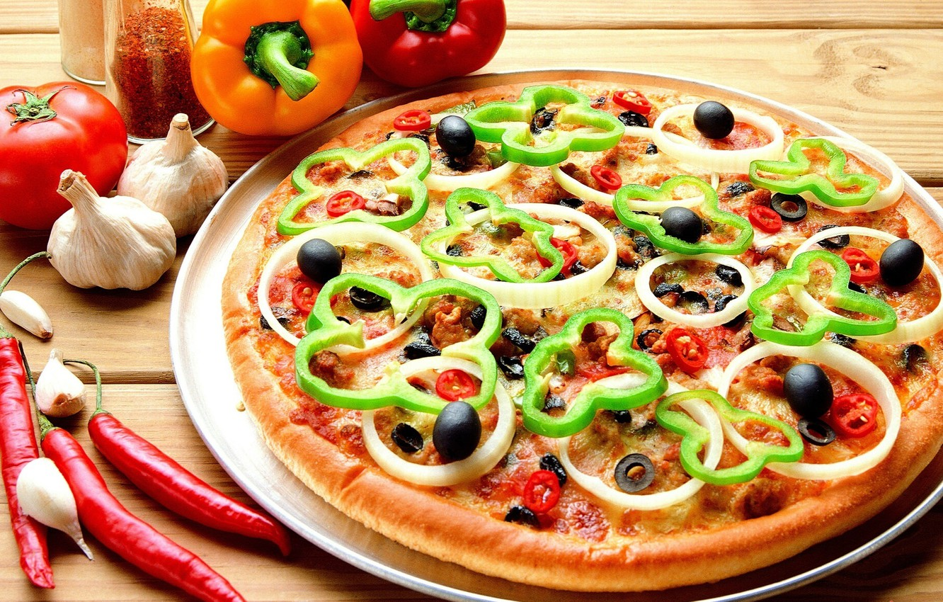 Photo wallpaper food, bow, food, pizza, tomato, olives, delicious, olives, garlic, bell pepper, hot pepper