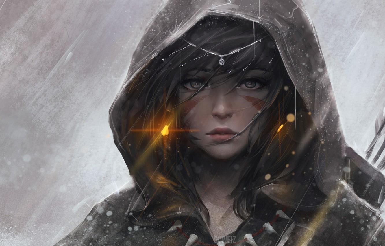 Photo wallpaper winter, girl, snow, anime, bow, art, hood, arrows, guweiz, seriki