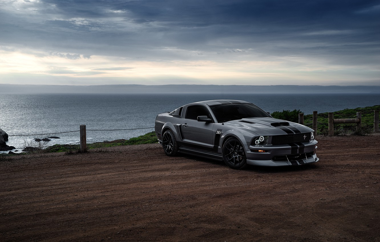 Photo wallpaper Mustang, Ford, Muscle, Car, Front, Grey, San Francisco, Boss, Sea, Collection, Aristo, 281