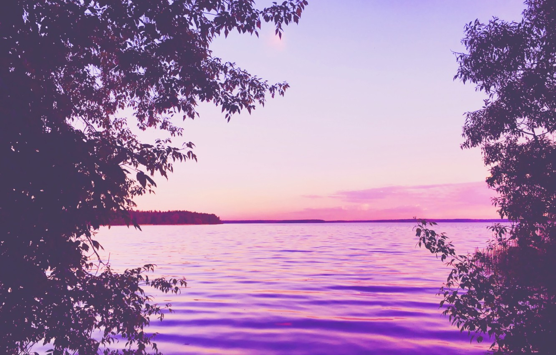 Photo wallpaper summer, trees, sunset, nature, lake