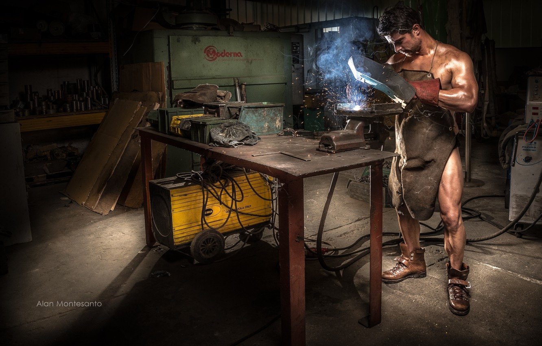 Photo wallpaper male, naked, apron, welding machine, welder