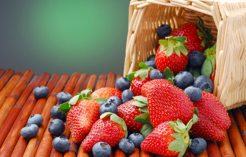 Photo wallpaper summer, berries, strawberry, basket, blueberries
