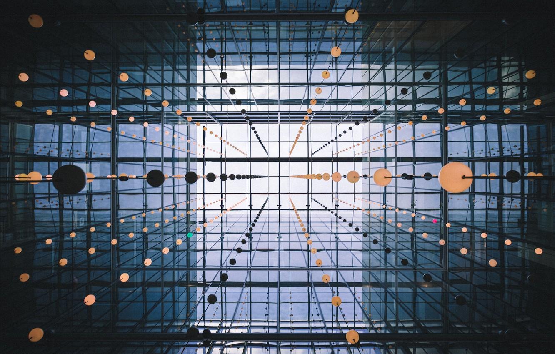 Photo wallpaper balls, Windows, architecture, construction