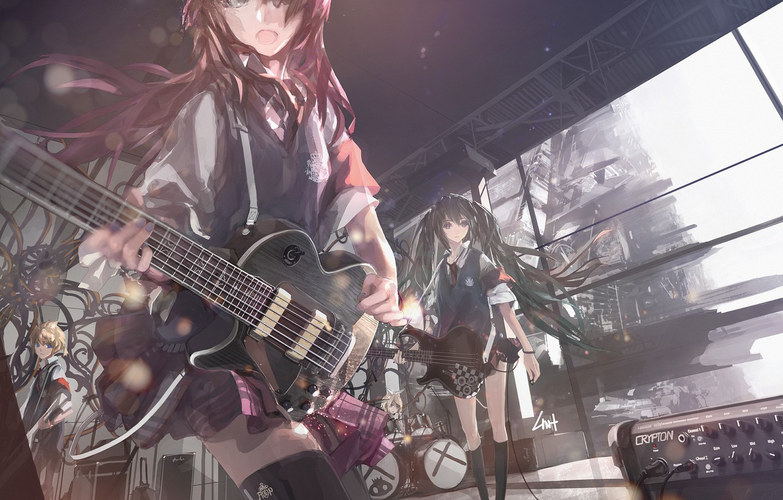 Photo wallpaper guitar, skirt, blue eyes, vocaloid, hatsune miku, megurine luka, kagamine rin, school uniform, long hair, …