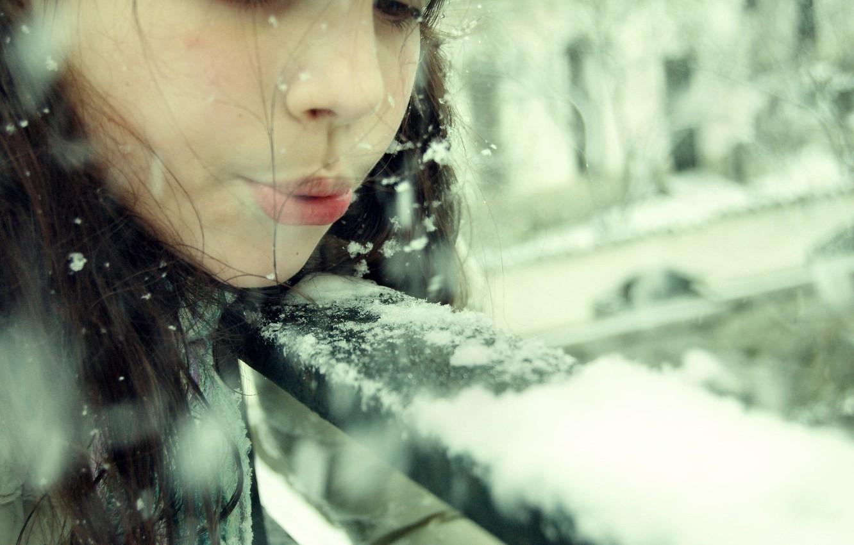 Photo wallpaper winter, girl, snow, snowflakes, children, mood, hat, brunette, girl