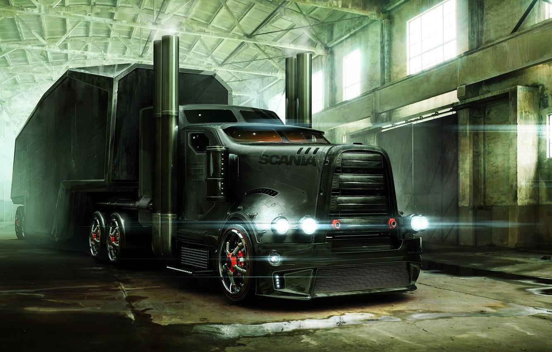 Photo wallpaper art, hangar, armor, trailer, tractor, Scania
