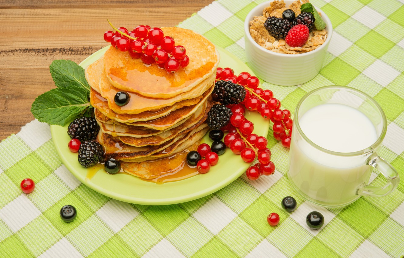 Photo wallpaper berries, Breakfast, honey, pancakes, fresh, berries, breakfast, muesli, pancake