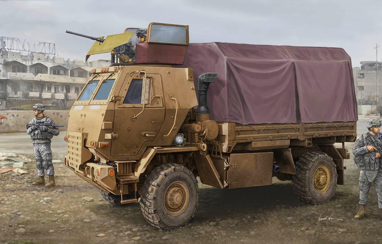 Photo wallpaper weapons, figure, art, soldiers, equipment, machine gun, tactical, average, U.S., Family of Medium Tactical Vehicles, …