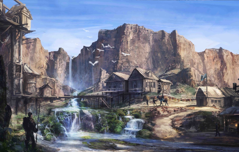 Photo wallpaper river, people, rocks, waterfall, home, art, oasis, settlement