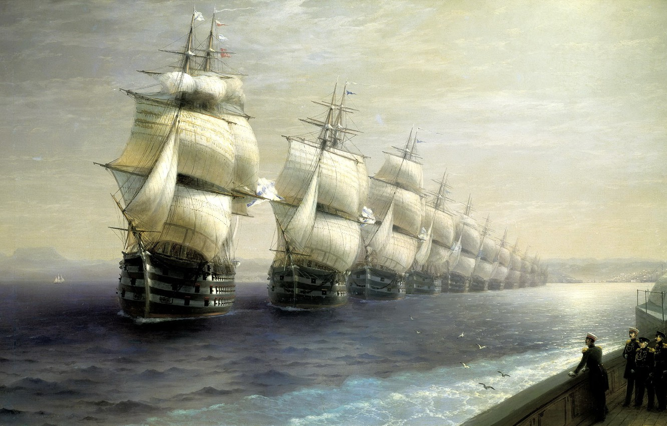 Photo wallpaper sea, painting, Aivazovsky Ivan, the review of the troops of the black sea fleet in …