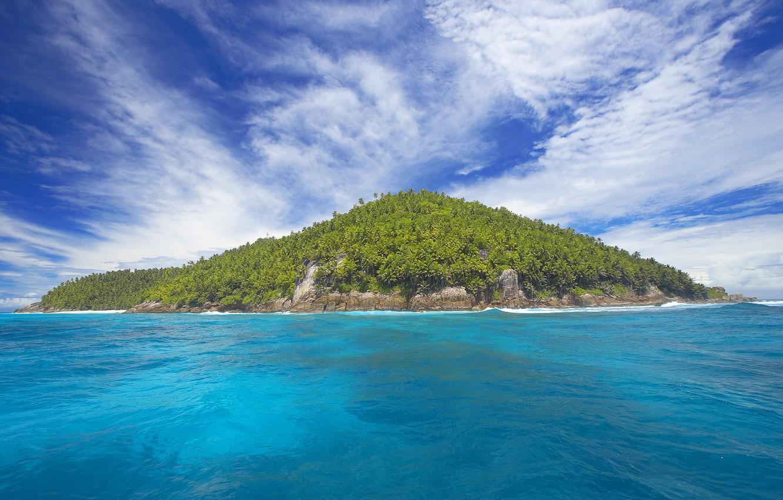 Photo wallpaper sea, the sky, clouds, trees, landscape, blue, the ocean, island, island
