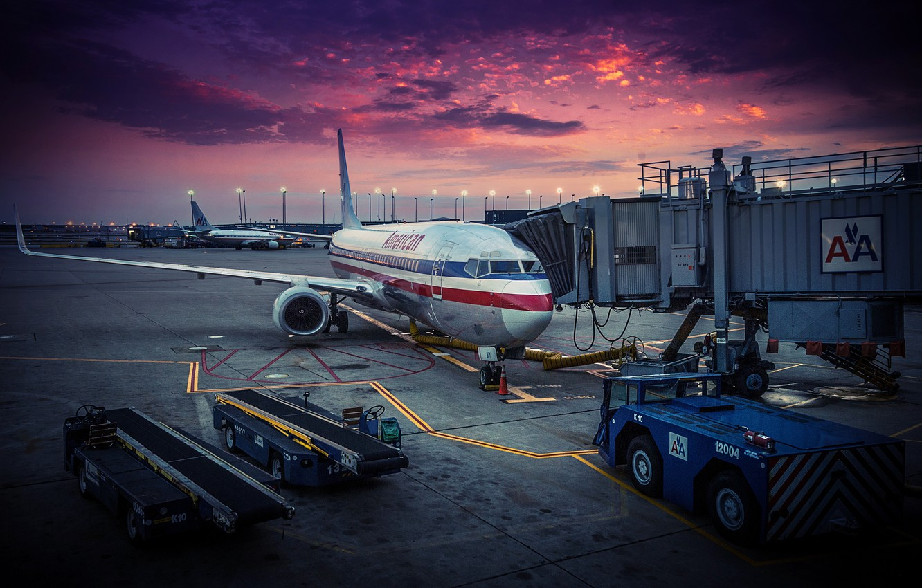 Photo wallpaper the plane, dawn, airport, USA, Chicago, American Airlines