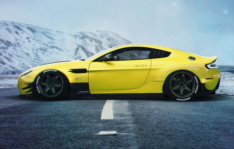 Photo wallpaper Aston Martin, Car, Yellow, Side, Sport, Vanquish, Stance