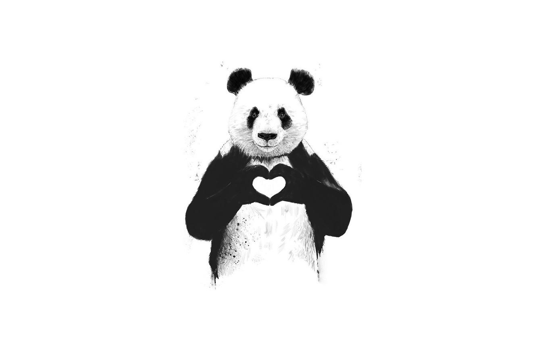 Photo wallpaper love, animal, heart, Panda, love, minimalism, animal, Milota, panda