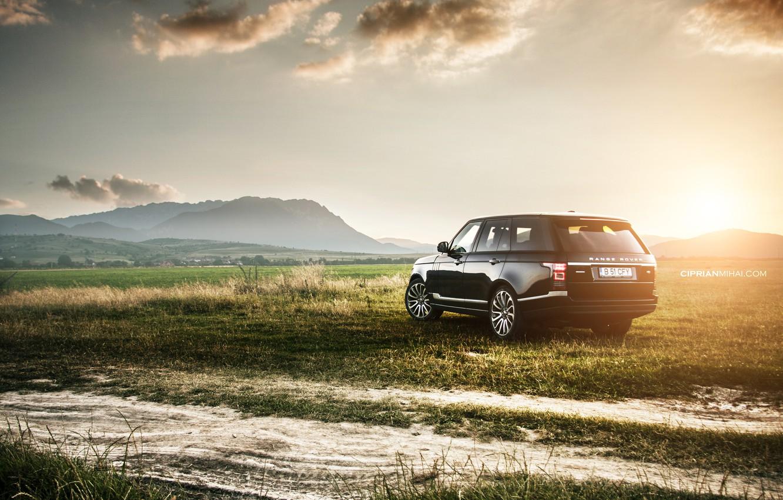 Photo wallpaper field, sunset, Land Rover, Range Rover IV