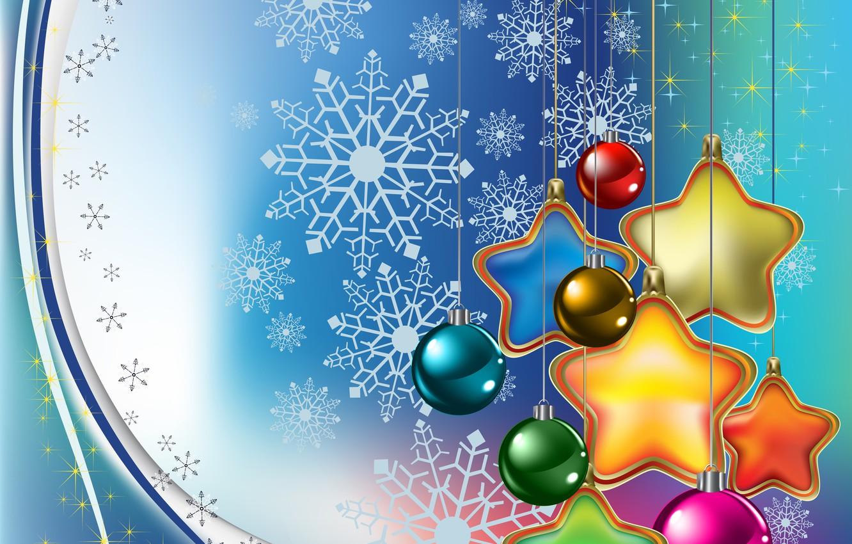 Photo wallpaper stars, balls, decoration, snowflakes, balls, toys, graphics, stars, Christmas, New year