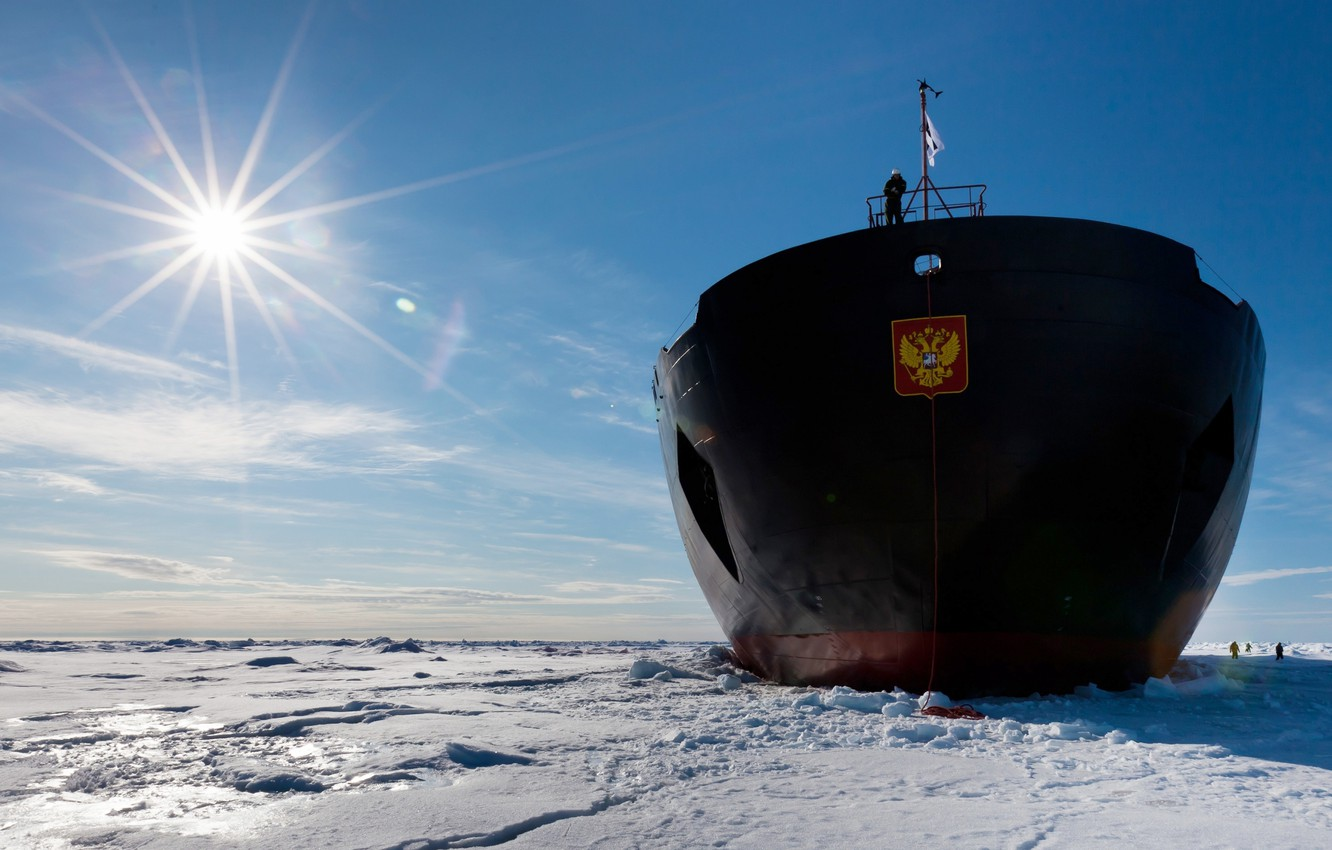Photo wallpaper The sun, The sky, Sea, Ice, Day, Icebreaker, Coat of arms, Russia, Nose, 50 years …