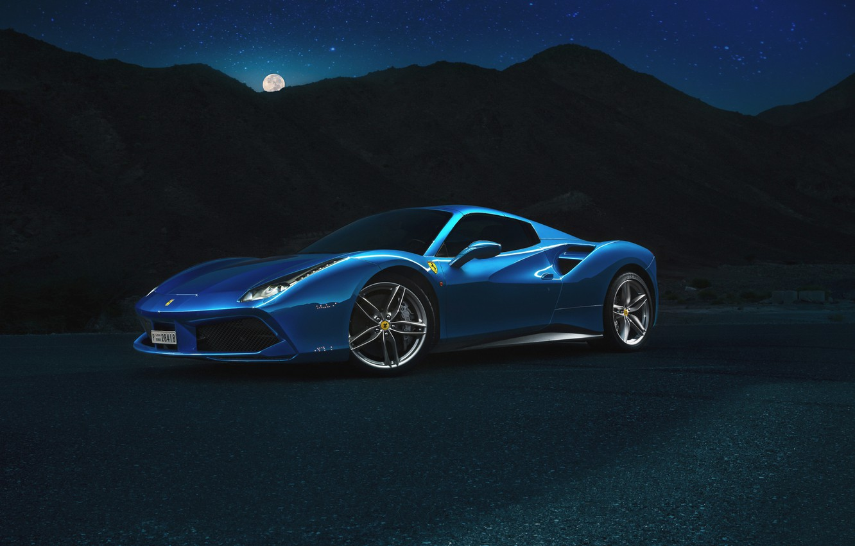 Photo wallpaper Ferrari, Blue, Front, Spider, Supercar, 488