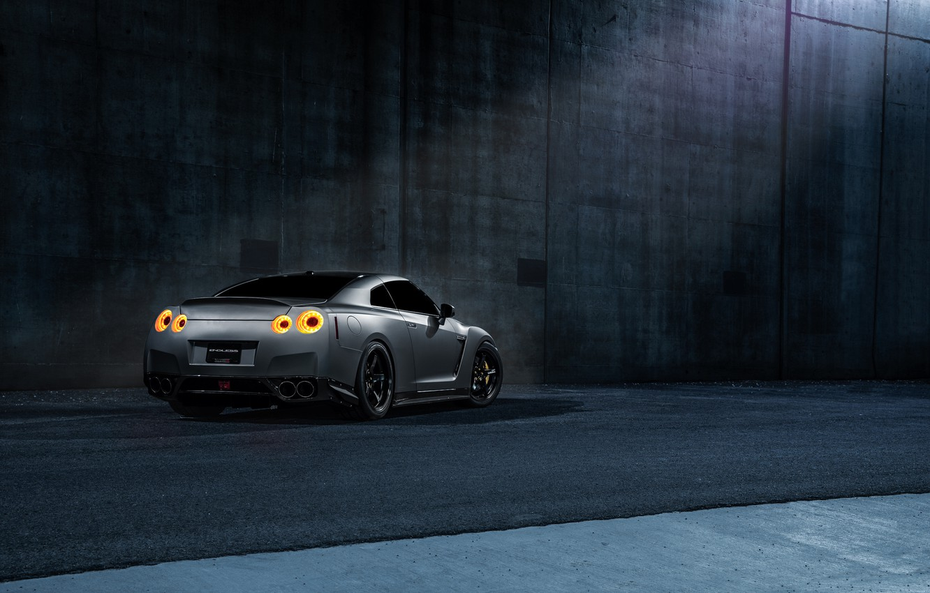 Photo wallpaper Imperial, Dark, GTR, Japan, Nissan, Car, California, Grey, Best, R35, Sport, Rear, Works