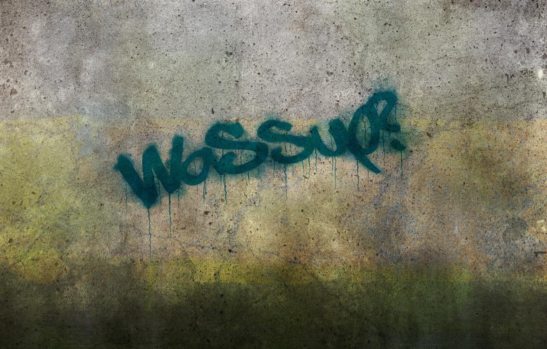 Photo wallpaper wall, the inscription, graffiti, stains, concrete, wassup