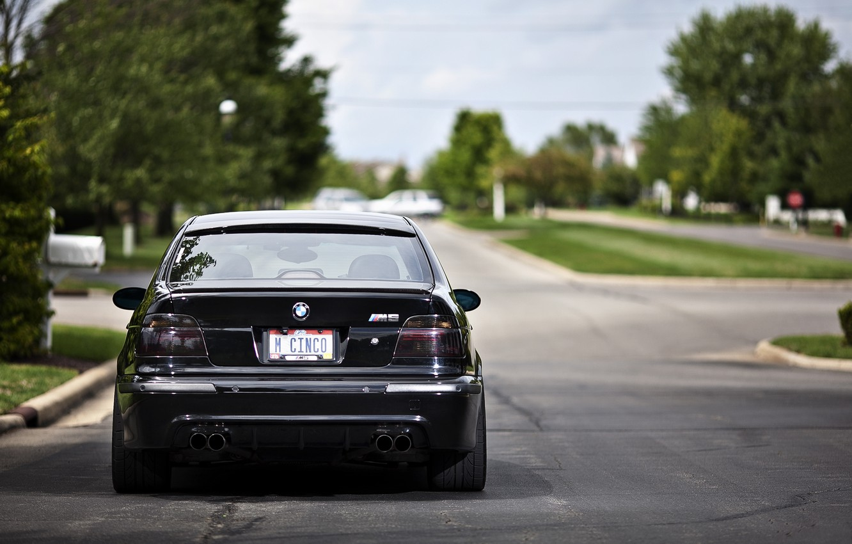 Photo wallpaper black, street, bmw, BMW, black, road, street, e39