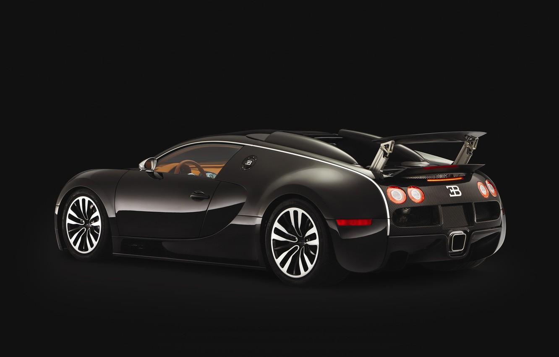 Photo wallpaper black, Veyron, bugatti, spoiler
