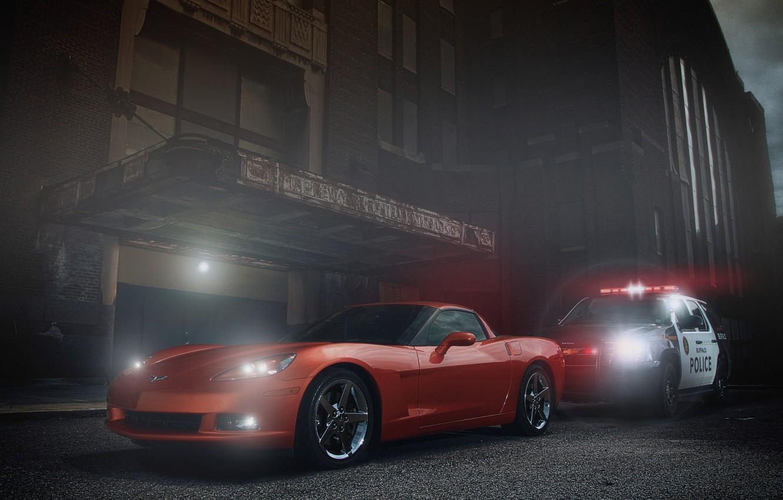 Photo wallpaper Corvette, Chevrolet, Muscle, Orange, Car, Police, Ligth