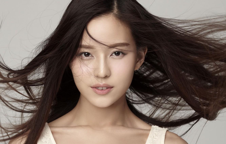 Photo wallpaper girl, the wind, hair, Asian