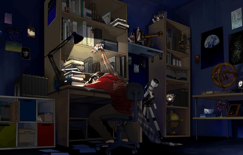 Photo wallpaper night, room, books, sleep, anime, art, guy, telescope, mess, anime, art